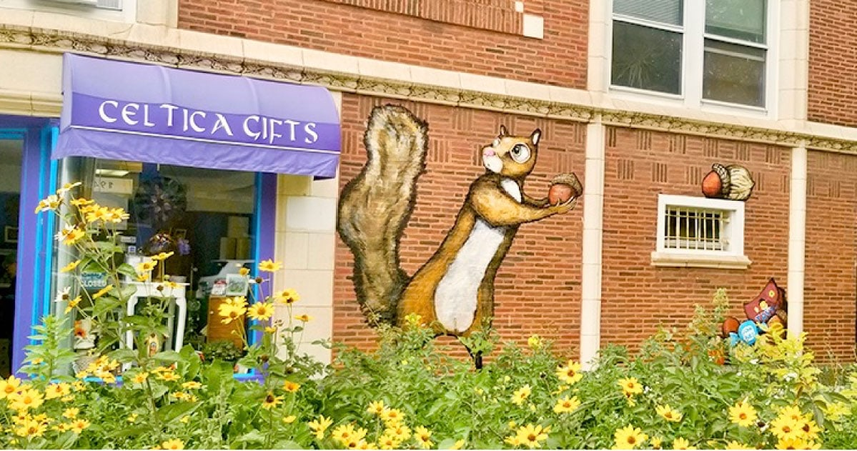 A giant squirrel hoards nuts in this mural by John Airo at Montrose and Winchester.