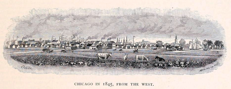 """""""Chicago in 1845, from the West,"""" engraving by John Calvin Moss."""