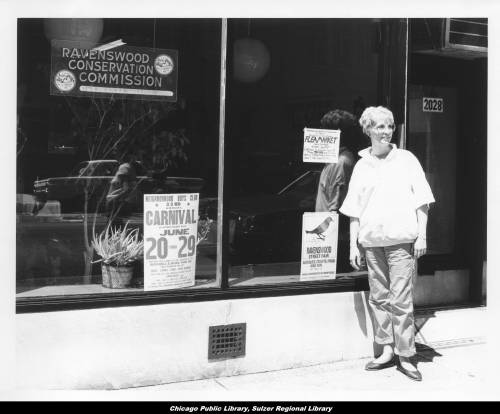 Ravenswood Conservation Commission secretary Joan Fogarty in front of the office window at 2028 West Montrose Avenue, 1986. Photo courtesy Chicago Public Library
