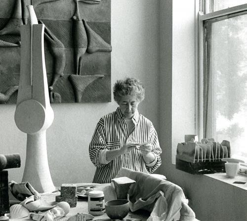 Artist Ruth Duckworth in her Chicago studio, circa 1990.