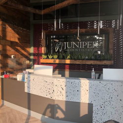 A picture of the front desk at Juniper Dentistry