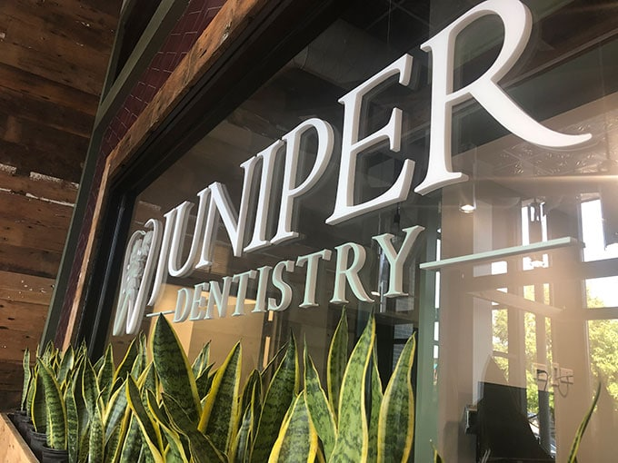 Juniper Dentistry's storefront windows