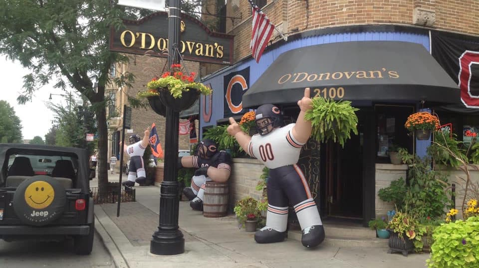 An inflatable Bears player decorates the entrance to O'Donovan's bar and grill