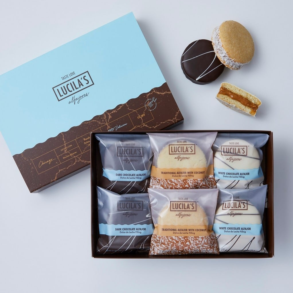 An gift set of chocolate covered alfajores from Lucila's
