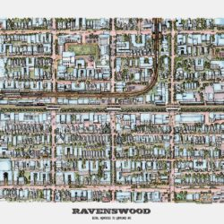 An illustrated, bird's eye view map of Ravenswood by Cape Horn Illustration