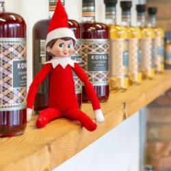 Patty, Ravenswood's holiday Elf on the Shelf, visiting KOVAL distillery