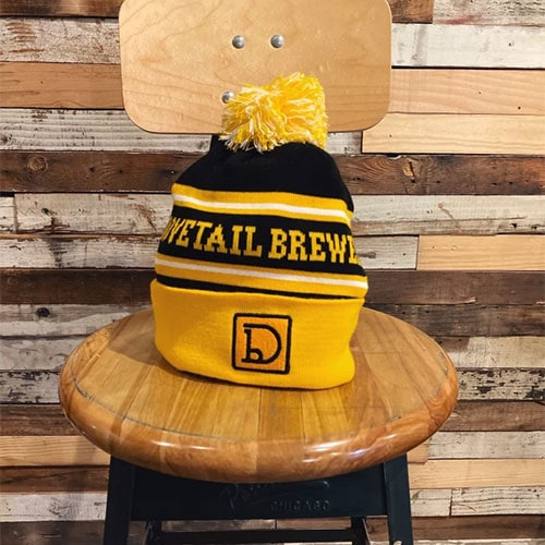 A picture of the perfect holiday gift for Chicago winter, a Dovetail beanie
