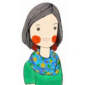 An illustrated cartoon drawing of the Greater Ravenswood Chamber of Commerce's Executive Director, Megan Bunimovich