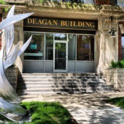 A sculpture in front of the historic Deagan Building in Ravenswood Ave