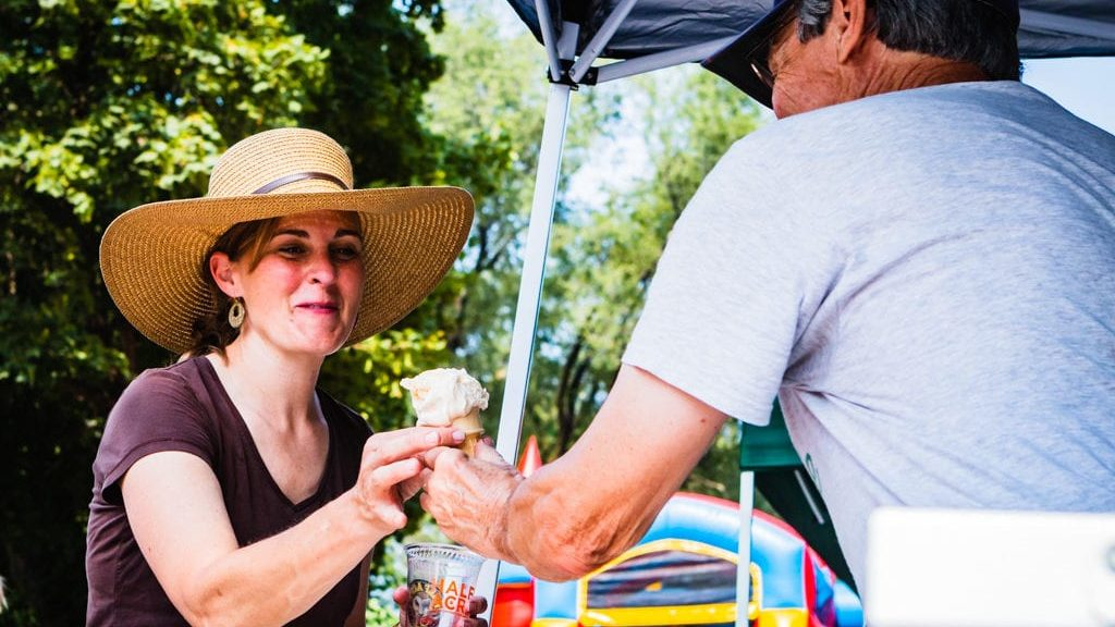 Neighbors share beer and ice cream at the Bowmanville Summer Social