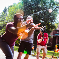 Neighbors play at the Bowmanville Summer Social