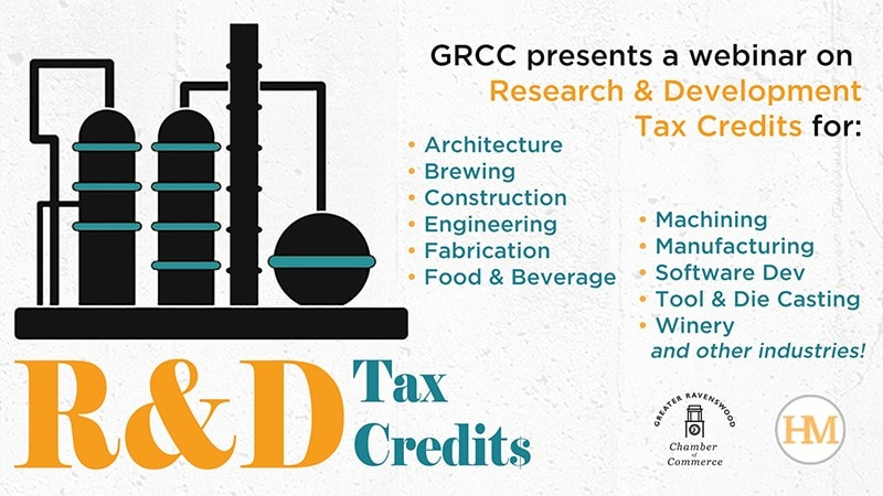 Text: GRCC presents a webinar on Research & Development Tax Credits for: Architecture, Brewing, Construction, Engineering, Fabrication, Food & Beverage, Machining, Manufacturing, Software Dev, Tool & Die Casting, Winery and other industries