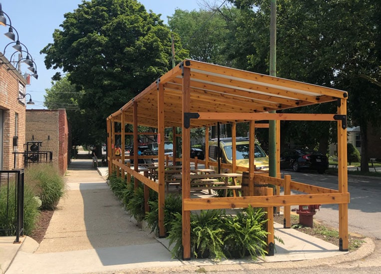 Spiteful Brewing's new dog friendly patio in Ravenswood