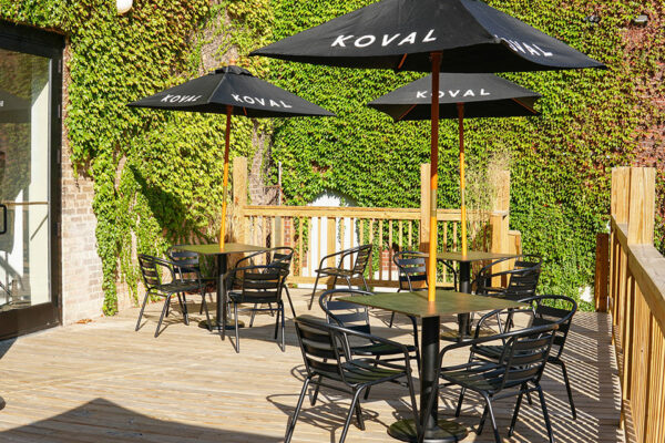 KOVAL Distillery's Malt Row patio