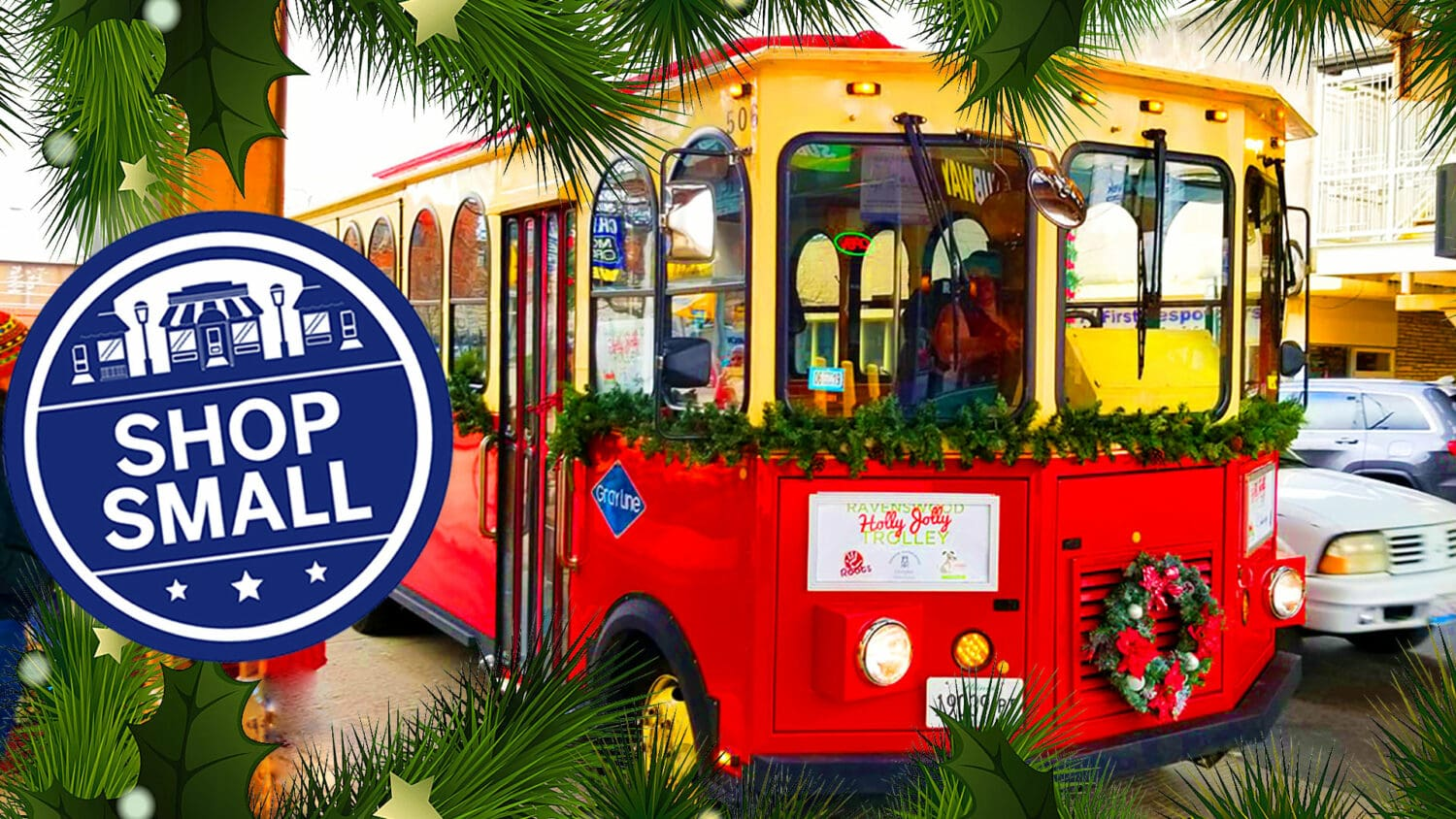 The Holly Jolly Trolley picks up holiday shoppers on Small Business Saturday in Ravenswood