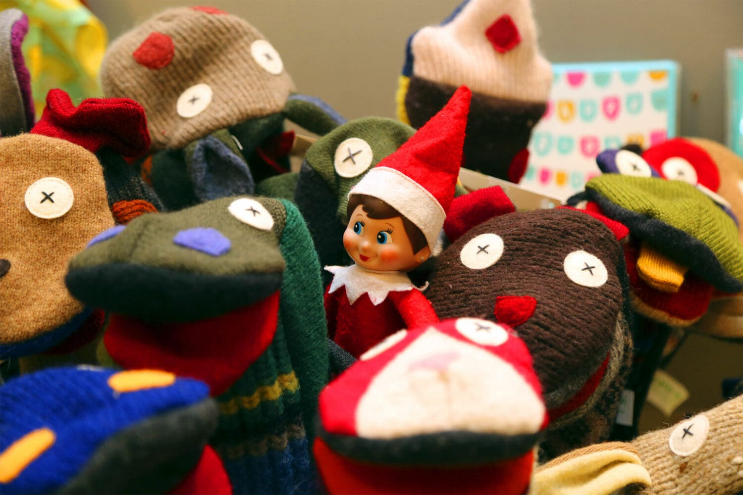 Patty, Ravenswood's neighborhood Elf on the Shelf, visits a local business